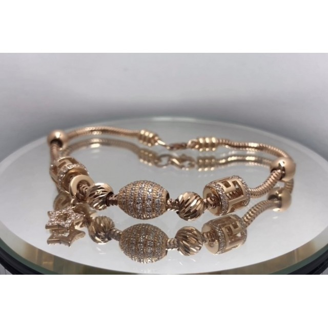 Золотой женские браслет с шармами 4215777101