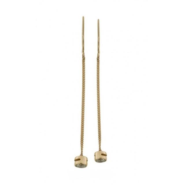 Золотые серьги цепочки 420215