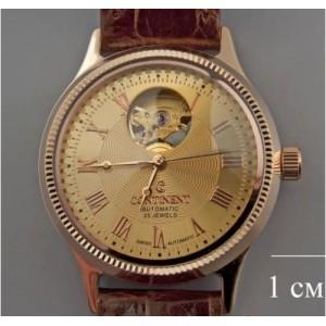 Золотые часы мужские, скелетон 48