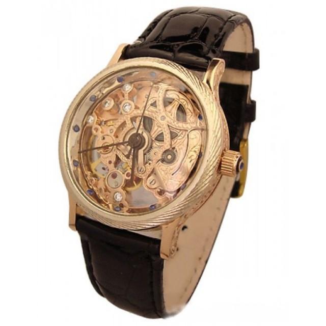 Золотые часы скелетон 677