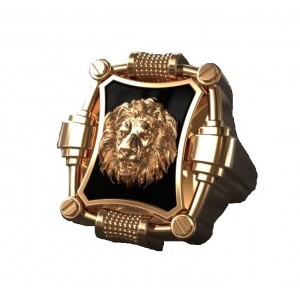 Золотой мужской перстень Лев 800852