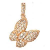 Золотой кулон бабочка 150353