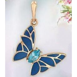 Золотой кулон бабочка с эмалью 160339