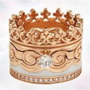 Золотое обручальное кольцо с эмалью 330091