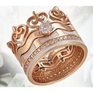 Золотое обручальное кольцо с эмалью 330991
