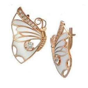Золотые серьги бабочки с эмалью 420261E