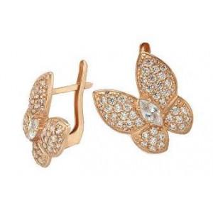 Золотые серьги бабочки 420263