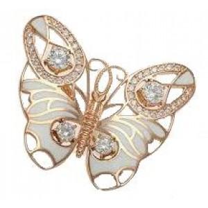 Золотая брошь бабочка 670059Е