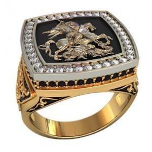 Золотая печать мужская Георгий Победоносец 700190 ювмод