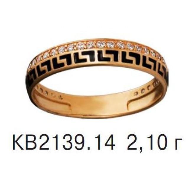 Золотое обручальное кольцо с эмалью КВ 2139-14