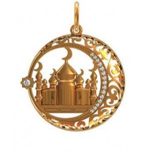 Золотой кулон Мусульманский полумесяц 411540 ювмод
