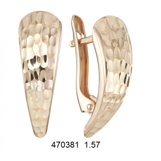 Золотые серьги без камней 470381